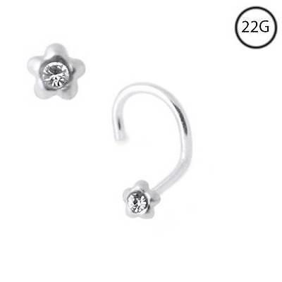 925 Sterling Silver Nose Ring L Bend Straight Bone Clear Aqua CZ 22 Gauge 22G