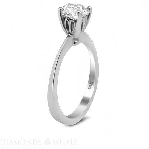 0.5 CT Diamond Ring VS1 F Round White gold 14K Engagement Bridal Ring Enhanced