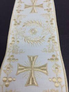 Orphrey-Vintage-Crudo-Color-Encendido-Blanco-Vestment-Banda-10-2cm-Ancho-Sold-De