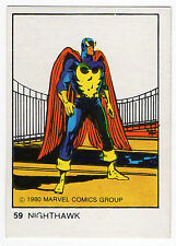 1980 Spanish Marvel Comics Superhero Terrabusi Trade Card - #59 - Nighthawk