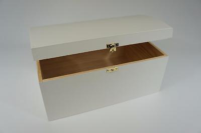 White Treasure Chest Wooden Box Memory Trinket Souvenir Storage Craft SO22W