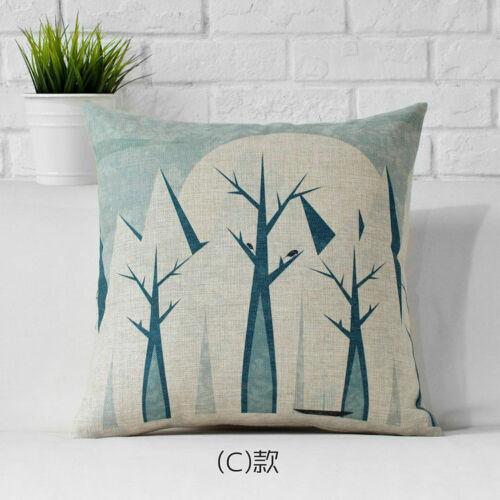 "Neige Coussin Glace arbres 18/""x18/"" Cartoon Case Cover Neuf Lin hiver Oreiller Animal"