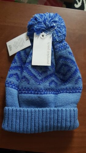 Cute Pumpkin Patch Blue with Silver Knitted Beanie Bobble Hat Size Large BNWT