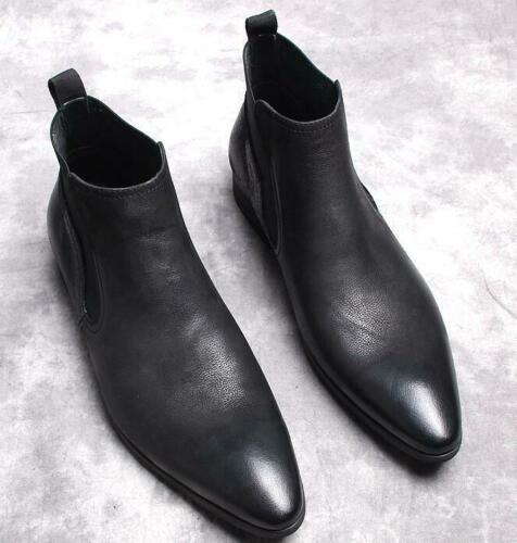 Men/'s Pointy Toe Ankle Boot Chelsea Casual Dress Formal Leather Slip On Shoes