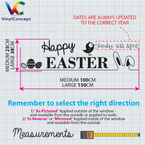 Easter Happy Day Greetings Vinyls Shop Window Display Wall Decals Stickers A402