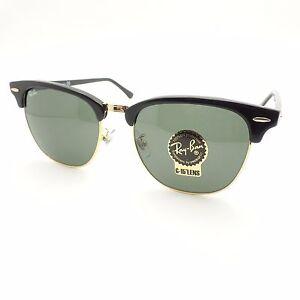 fotos oficiales 41653 c2853 Detalles acerca de Ray Ban Clubmaster 3016 F 55 mm W0365 Negro Oro nuevas  gafas de sol auténticas- mostrar título original