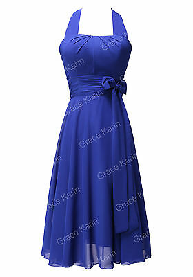 CLEARANCE Sexy Halter Bridesmaid Prom Cocktail Evening Gown Party Formal Dress
