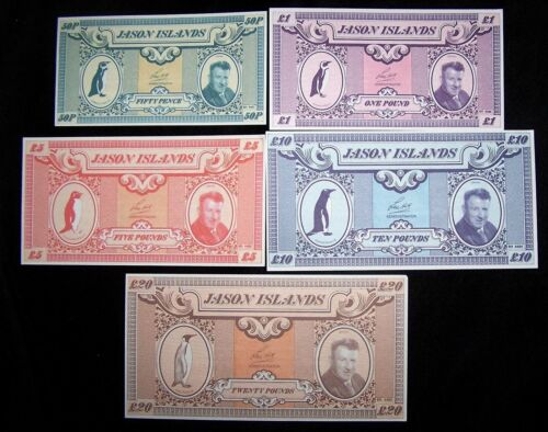 UNC Penguin /& Len Hill 20£ 1979 Banknote Series Jason Islands 50 pence