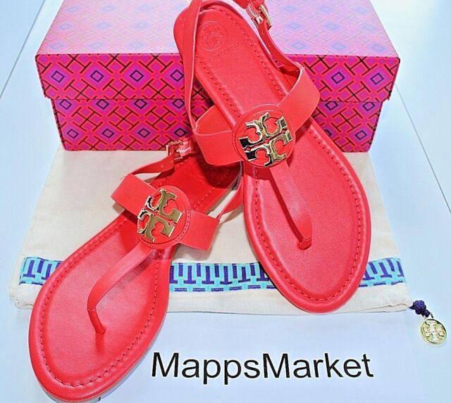 e9313d18a79d NIB Authentic TORY BURCH Bryce Flat Thong Logo Leather Sandal Samba Sz 8.5   228