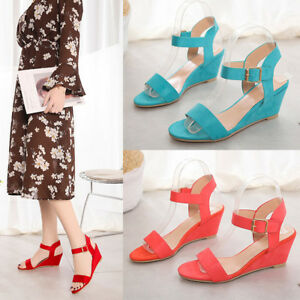 Roman-Womens-Wedge-Sandals-Low-Heels-Ankle-Strap-Buckle-Gladaitor-Shoes-Size-5-9