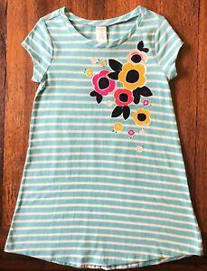 43533aaf3a87 Gymboree Size 4 5 6 10 12 Striped T-Shirt Shift Dress Flowers Aqua ...