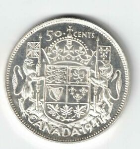 CANADA-1941-FIFTY-CENTS-HALF-DOLLAR-KING-GEORGE-VI-CANADIAN-SILVER-COIN