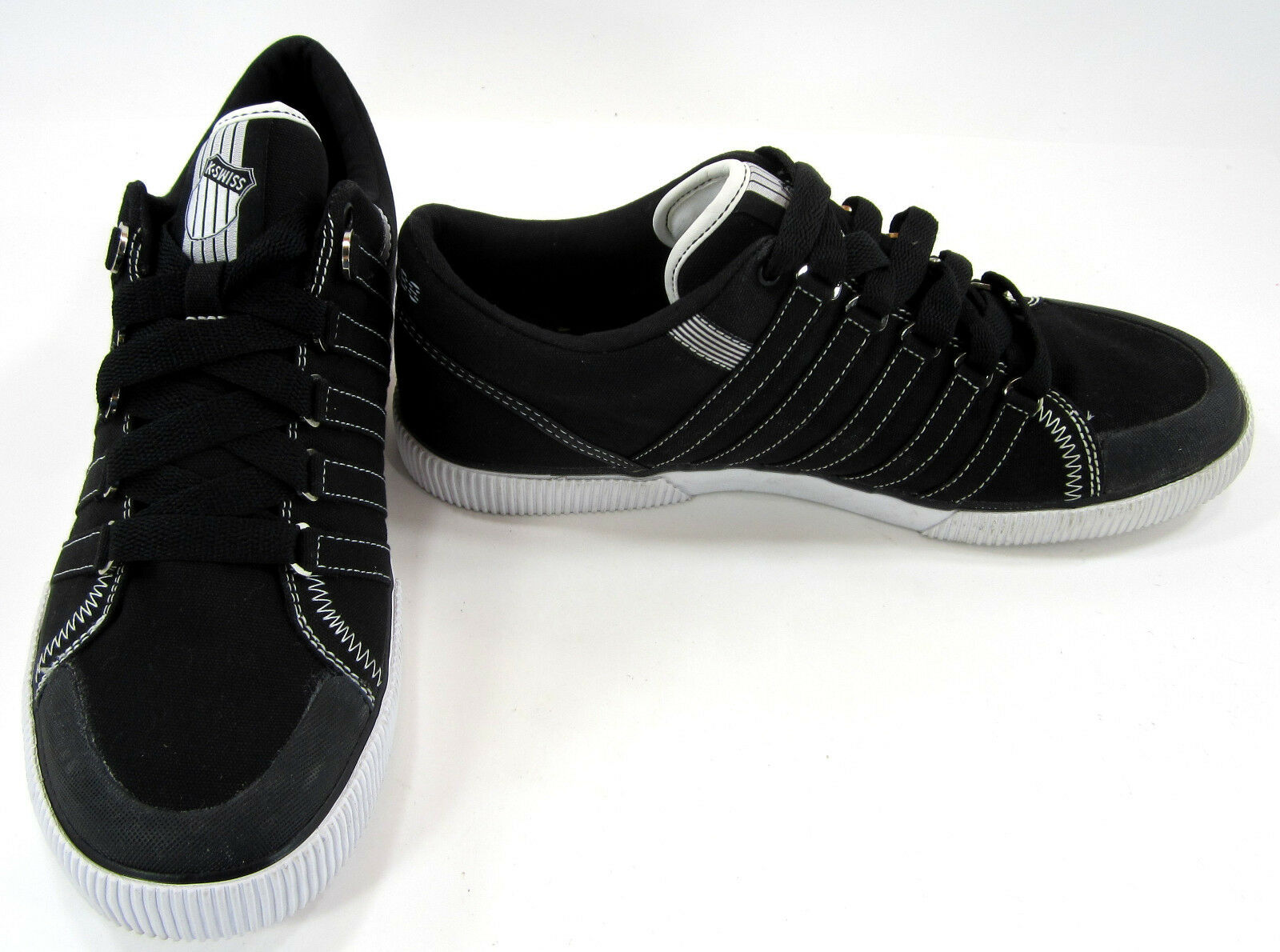 K-Swiss shoes Canvas Stitched Classic Trainers Black White Sneakers Size 11