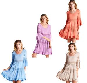 JODIFL-Womens-Crochet-Lace-Boho-3-4-Bell-Sleeve-Bohemian-Casual-Dress-S-M-L