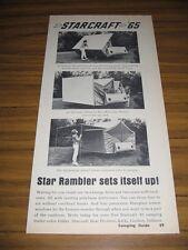 1965 Print Ad Starcraft Star Rambler Tent Camping Travel Trailer Goshen,IN