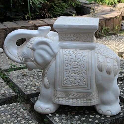 Lawn And Garden Decor Stool Ceramic Decorations Porcelain Elephant Statue  Ganesh | EBay