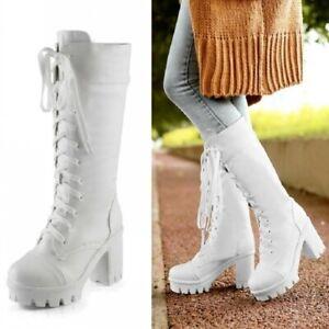Women-039-s-Block-High-Heels-Lace-Up-Combat-Platform-Goth-Punk-Mid-Calf-Boots-Shoes