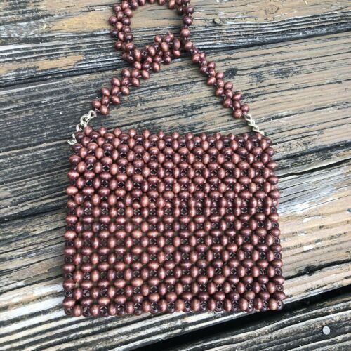 Vintage Brown Wood Beaded Purse Handbag Woven Bag