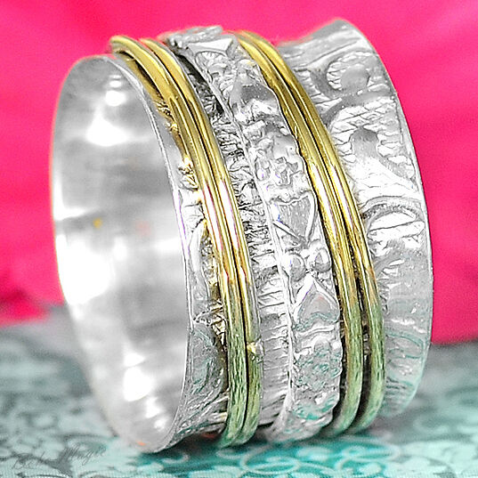 Solid 925 Sterling Silver Spinner Ring 2 Tone Golden Spinning Wide Band Hearts