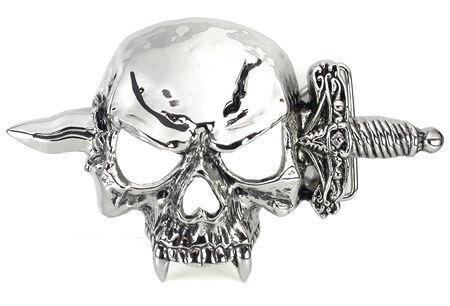 Sword in Skull Head Belt Buckle Design