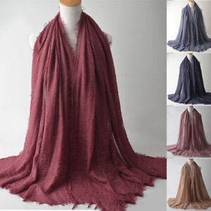 Ramadan-Plain-Cotton-Hijab-Scarf-Large-Maxi-Headscarf-Women-Shawl-Wrap-Headwear