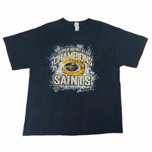 Super-Bowl-XLIV-Mens-New-Orleans-Saints-Delta-Magnum-Weight-T-Shirt-Black-XL