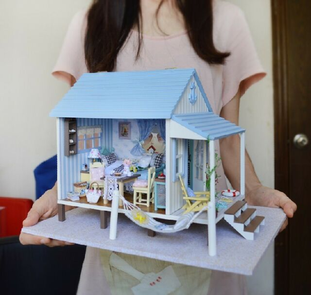DIY Wooden Dollhouse Miniatures DIY Kits Happy Times On The Coast of Cabin NEW