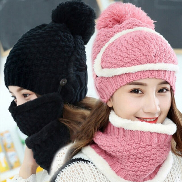3pcs Women Winter Warm Beanie Hat Scarf Mask Set Knitted Snow Ski Cap Fashion LJ