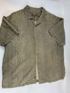 Tommy-Bahama-Mens-green-L-Large-Solid-Hawaiian-Silk-Camp-Shirt