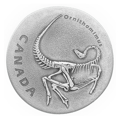 ORNITHOMIMUS - ANCIENT CANADA 2017 $20 1 oz Fine Silver Antique Finish Coin RCM
