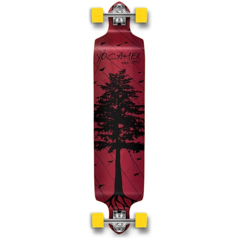 Yocaher Drop Down Longboard Complete - In the Pines   Red