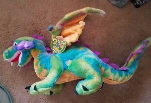 40 Big Melissa Doug Winged Dragon Green Blue Stuffed Animal Plush