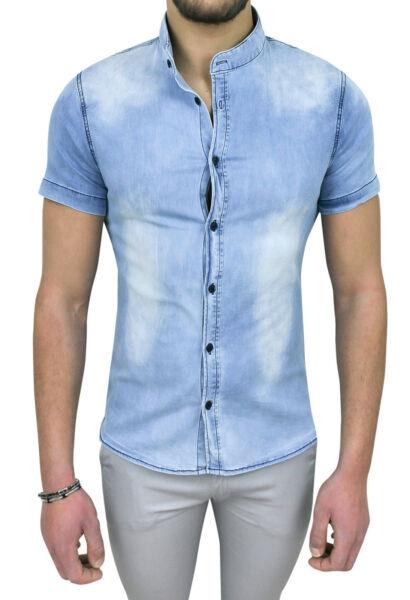 100% Vero Camicia Di Jeans Uomo Diamond Maniche Corte Slim Fit Aderente Casual Denim
