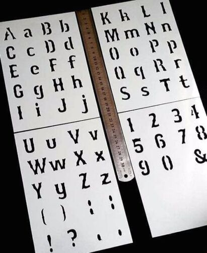 BOSOX Style Alphabet Letters Numbers Simbols Airbrushing Mylar Reusable Stencils