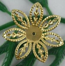 Free Ship 50Pcs Gold Plated Flower Bead Caps Findings 26x3mm
