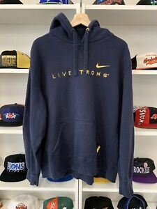 Vtg-Nike-Embroidered-Swoosh-Livestrong-Hoody-2XL-Lance-Armstrong-Tour-De-France
