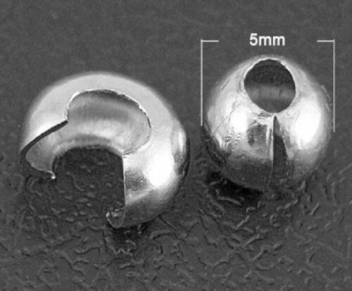 100 caches perles à écraser couleur platine 5 mm