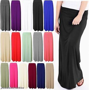 Ladies Women Pleated Fold Over Waist Jersey Maxi Full Length Viscose Gypsy Skirt