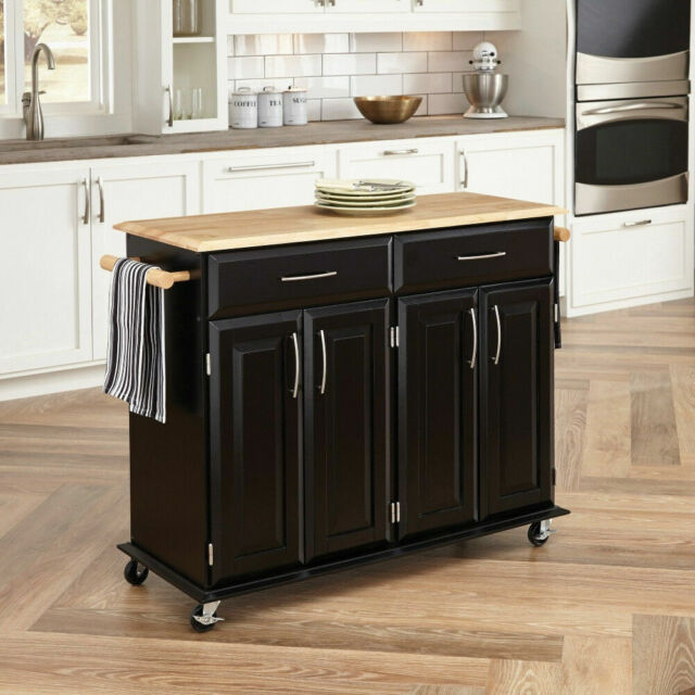 Large Black Wood Kitchen Island Trolley Cart Butcher Block Cutting Board  Storage