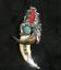 Tibetan antiques Wolf/'s teeth Bear claw Tibetan silver mosaic turquoise amulet