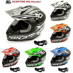 WULFSPORT Caschi Moto ADVANCE Adulto Casco Motocross M 57-58cm , Arancione off-road Quad Scooter Casco Cross Enduro con occhiali