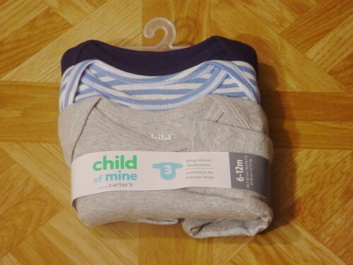 Carter/'s Infant Boys 3 Pk Stripe//Solid Long Sleeve Bodysuits 0-3 M 18 M 6-12 M