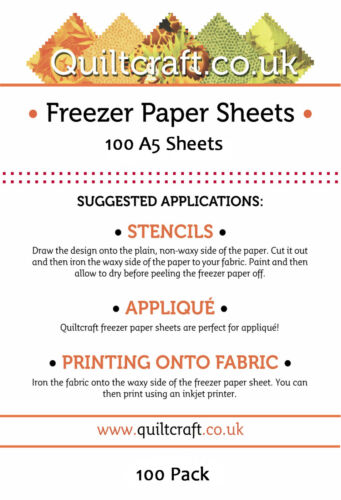 Quiltcraft/'s Freezer Paper Sheets x 100 SIZE BARGAIN A5