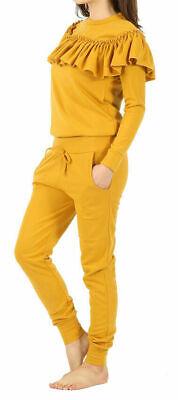 Ladies Women/'s lounge wear off shoulder slit knee laser cut track suit jump 8-22