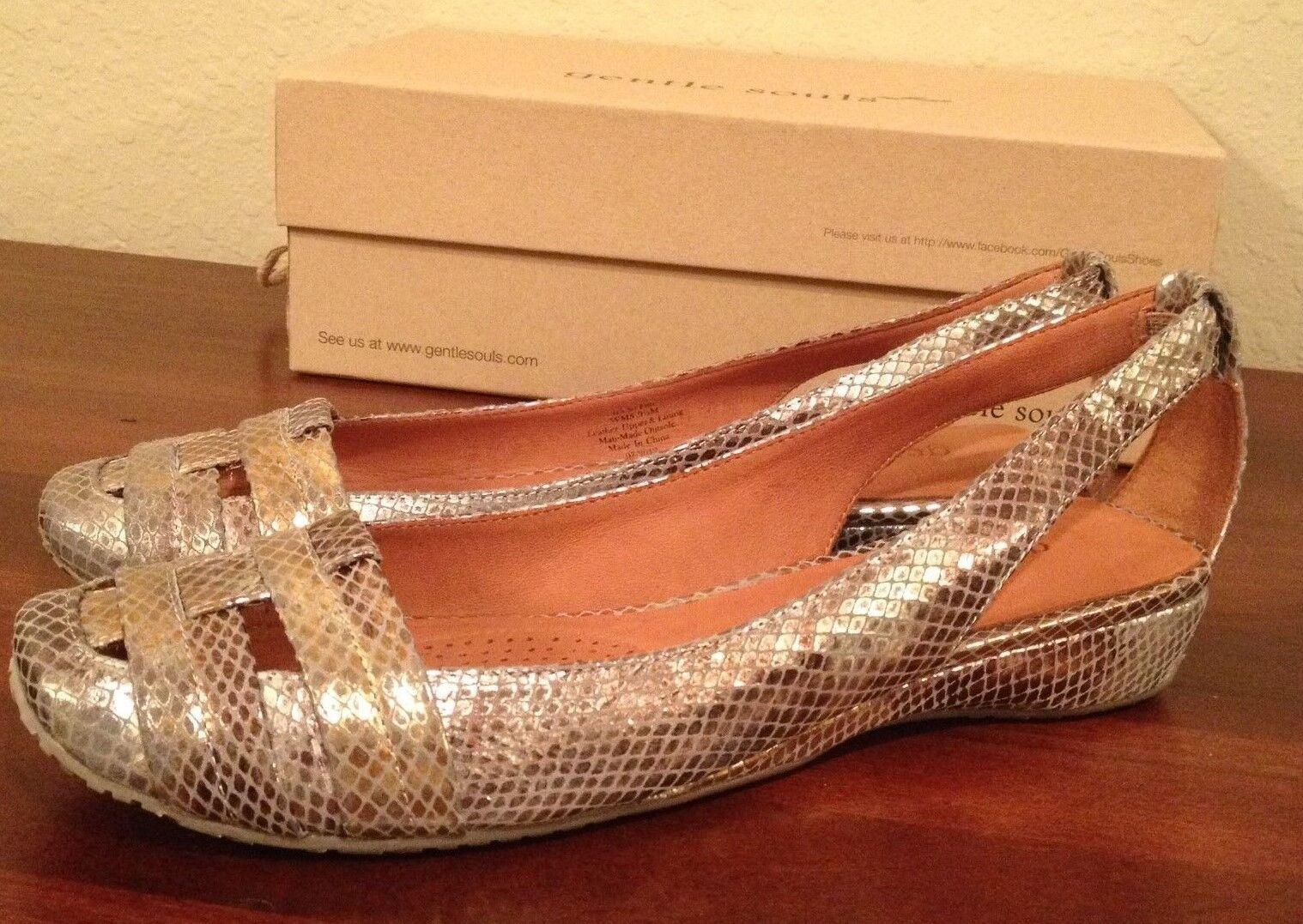 NIB  185 GOLD Gentle Souls It's So Fun GOLD 185 Shoes Donna size 9.5 M  9 1/2 M 7ed788