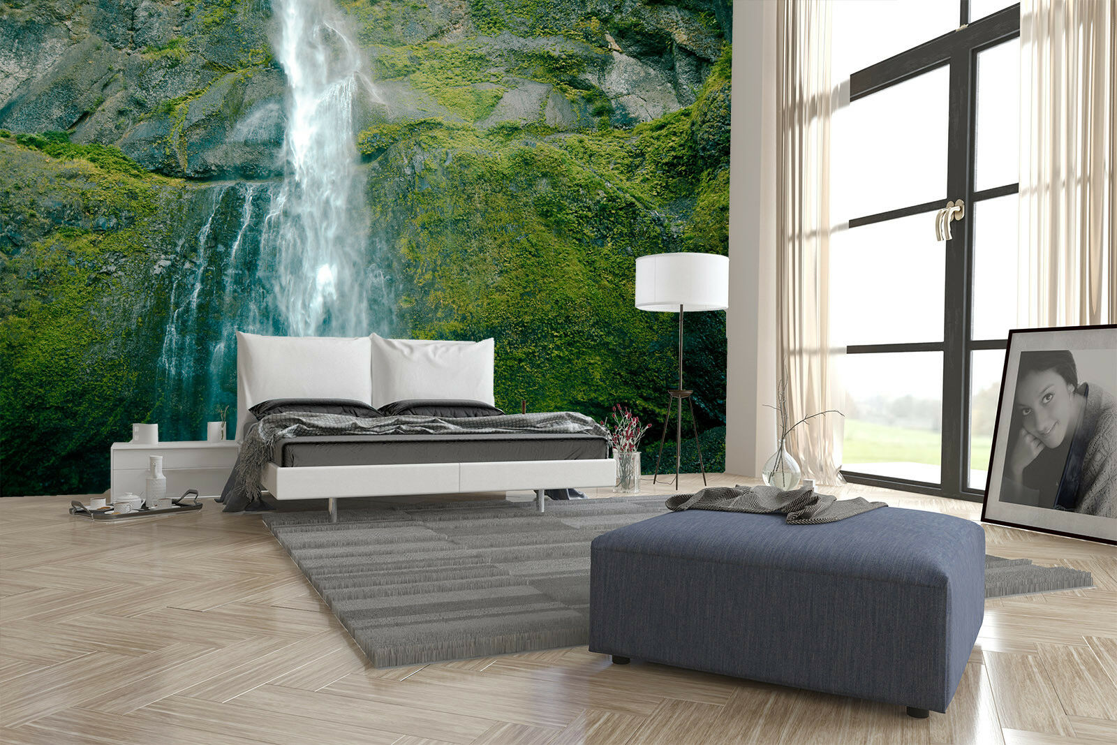 3D Moss Stone Waterfall 45 Wall Paper Wall Print Decal Wall Deco Indoor Mural