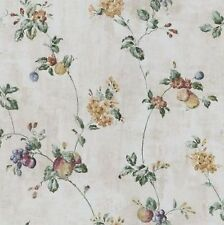 Wallpaper Waverly Floral Fruit Trail Vine Crackle Faux