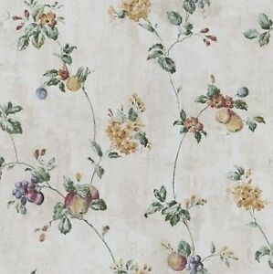 Wallpaper-Waverly-Classics-Floral-Fruit-Trail-Vine-on-Crackle-Faux-Finish