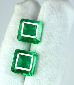 Zambian Emerald Loose Gemstone Pair 16-18 Ct emerald Cut Natural AGI Certified