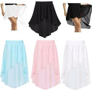Girls-Jazz-Ballet-Chiffon-Dance-Dress-Gymnastics-High-Low-Skirt-Performing-Wear